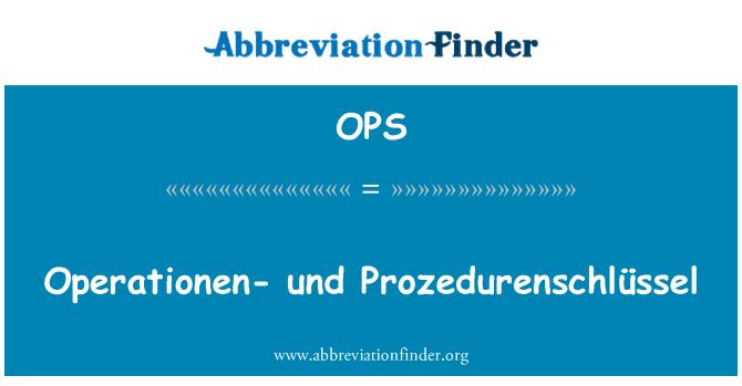 OPS: Operationen- und Prozedurenschlüssel