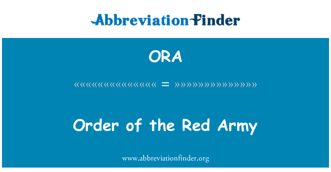 ORA: Order of the Red Army