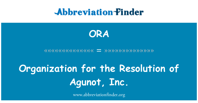 ORA: Organization for the Resolution of Agunot, Inc.