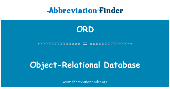 ORD: Object-Relational Database