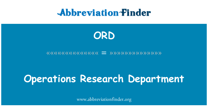 ORD: Operations Research Department