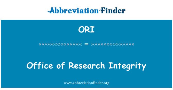 ORI: Office of Research Integrity