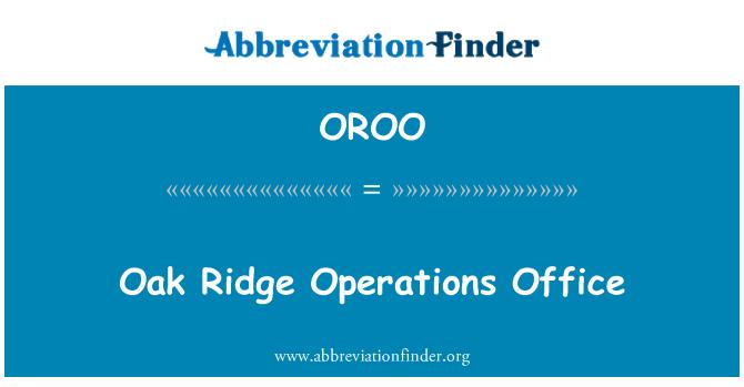 OROO: Oficina de operaciones de la Oak Ridge