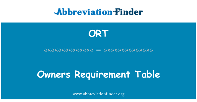 ORT: Owners Requirement Table