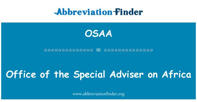 OSAA: Office Afrika Özel Danışmanı
