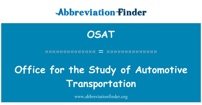 OSAT: Office for the Study of Automotive Transportation