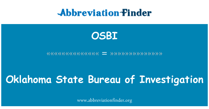 OSBI: Oklahoma State Soruşturma Bürosu