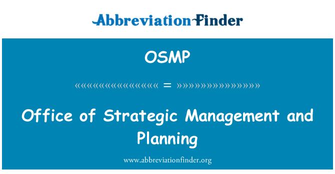 OSMP: Oficina de planificación y gestión estratégica