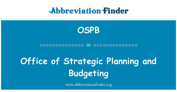 OSPB: 办公室的战略规划和预算编制
