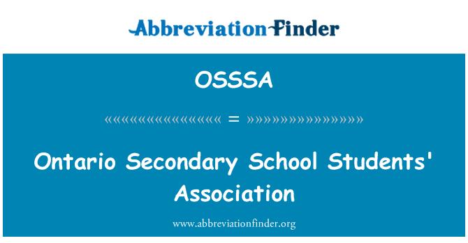 OSSSA: Ontario Secondary School Students' Association