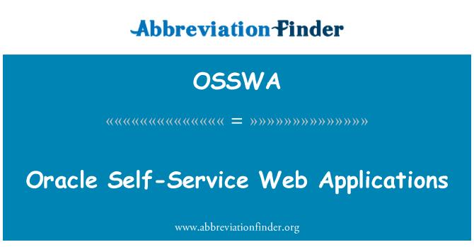 OSSWA: Oracle Self-Service Web Applications