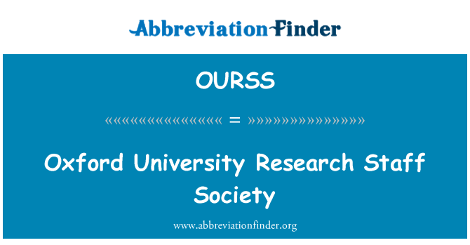 OURSS: Oxford University Research Staff Society