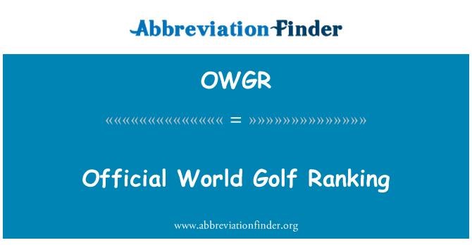 Owgr Golf Ranking