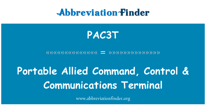 PAC3T: Portable Allied Command, Control & Communications Terminal