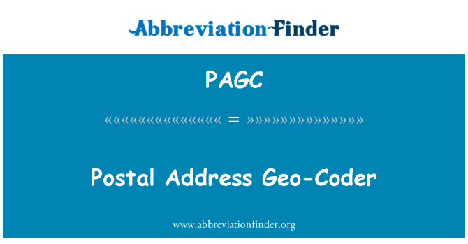 PAGC: Postal Address Geo-Coder
