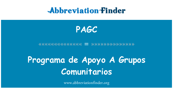 PAGC: پروگراما de اپاویو A گروپاوس کومونیترااوس