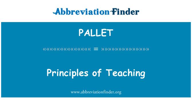 PALLET: Mokymo principai