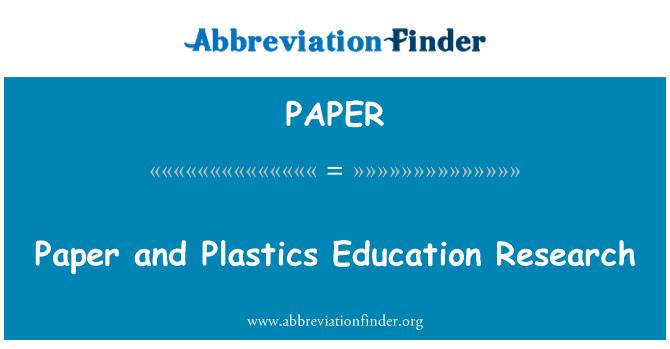 PAPER: Paberist ja plastist haridust teadusuuringute