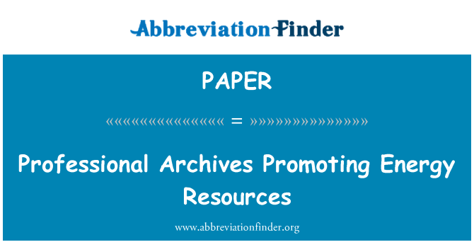 PAPER: Professional Arhiiv edendamine energiaressursside