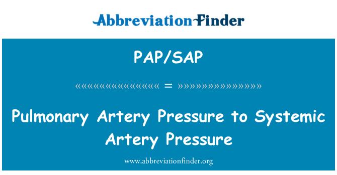 PAP/SAP: Pulmonary Artery Pressure to Systemic Artery Pressure