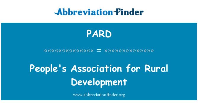 PARD: People's Association for Rural Development