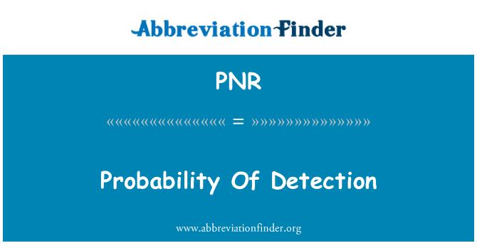 PNR: 检测概率