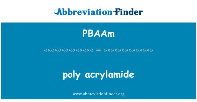 PBAAm: poly acrylamide