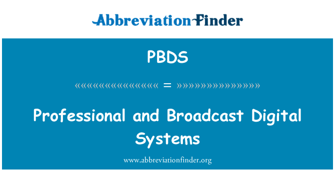 PBDS: Professional and Broadcast Digital Systems