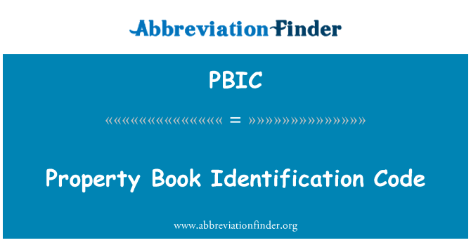PBIC: Property Book Identification Code