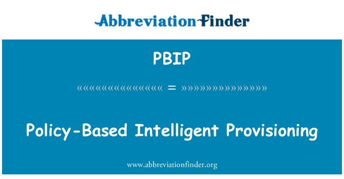 PBIP: پالیسی کی بنیاد پر ذہین انتظامی