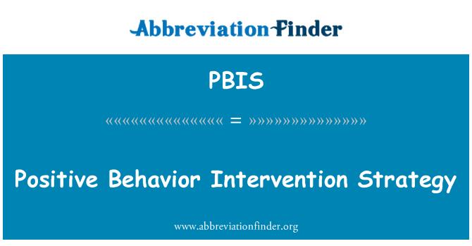 PBIS: Estrategia de intervención de comportamiento positivo