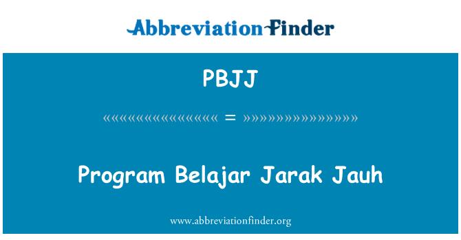 PBJJ: Program Belajar Jarak Jauh