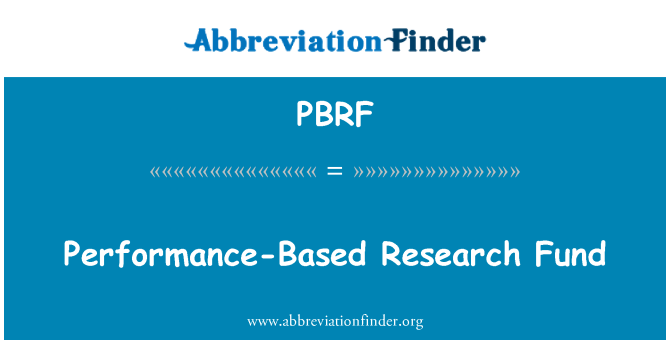 PBRF: Performance-Based Research Fund