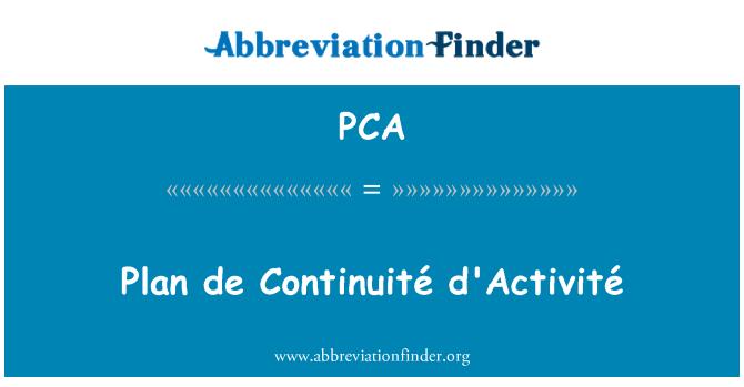 PCA: Plan de Continuité d'Activité
