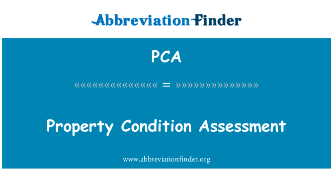 PCA: Property Condition Assessment