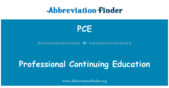 PCE: Professional Continuing Education