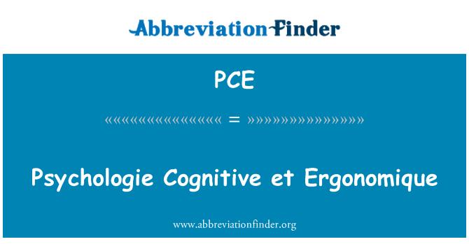 PCE: Psychologie Cognitive et Ergonomique