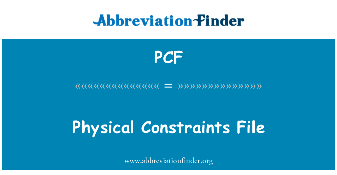 PCF: Physical Constraints File