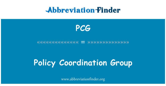 PCG: Policy Coordination Group