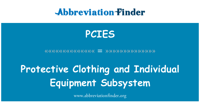 PCIES: Protective Clothing and Individual Equipment Subsystem
