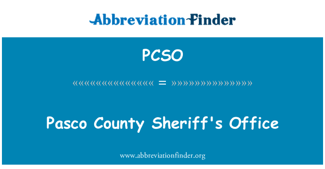PCSO: Pasco County Sheriff's Office