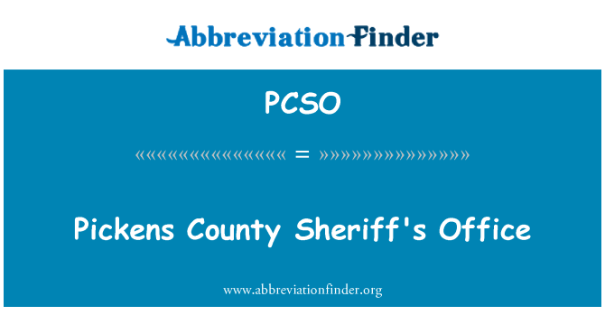 PCSO: Pickens County Sheriff's Office