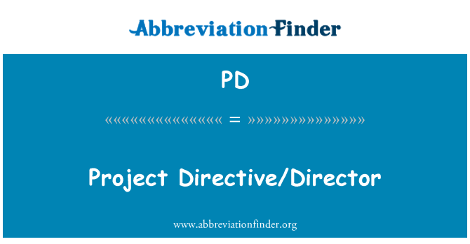 PD: Project Directive/Director