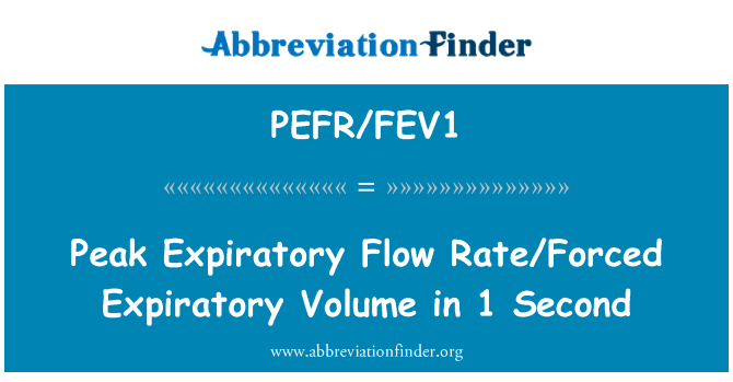 PEFR/FEV1: Peak Expiratory Flow Rate/Forced Expiratory Volume in 1 Second