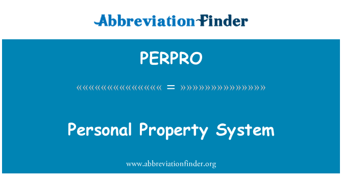 PERPRO: Personal Property System