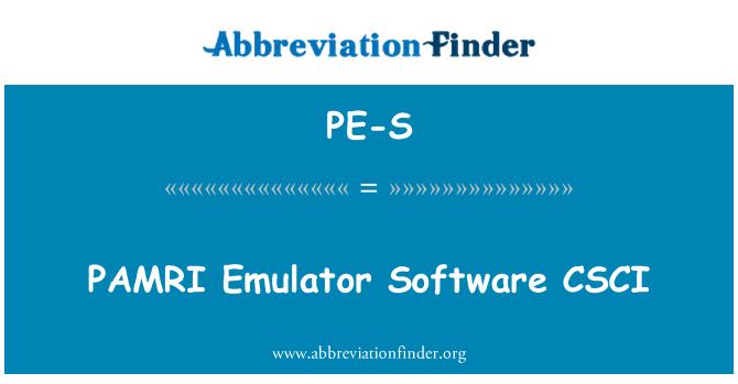 PE-S: PAMRI 模拟器软件 CSCI