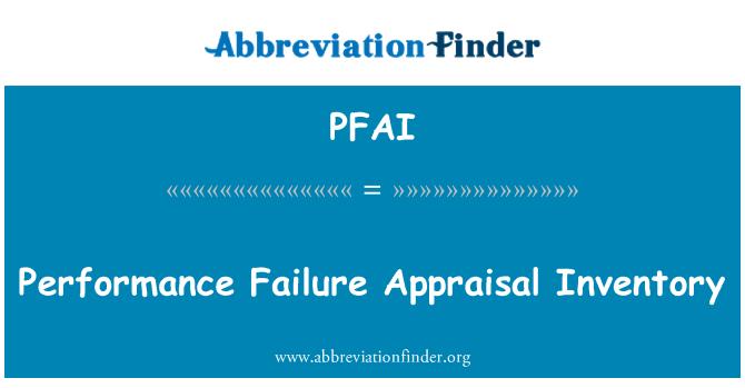 PFAI: Izvođenje neuspjeh procjene zaliha