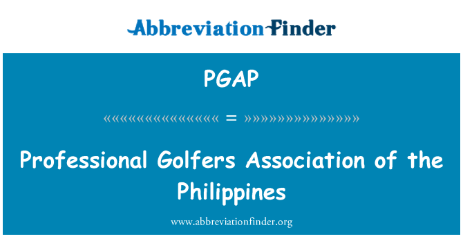 PGAP: Professional Golfers Association of the Philippines