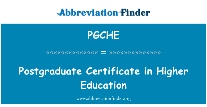 PGCHE: Postgraduate Certificate in Higher Education