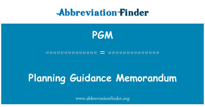 PGM: Planning Guidance Memorandum